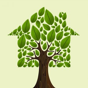 Real estate tree house green leaves illustration. Vector file layered for easy manipulation and custom coloring