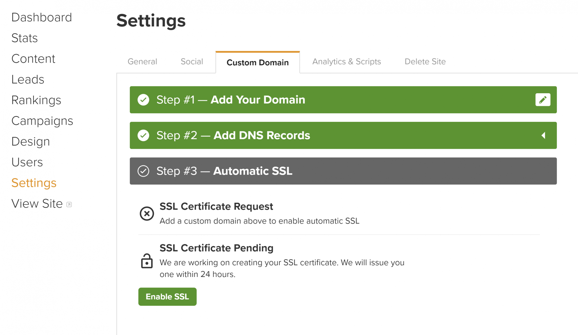 Carrot SSL Settings