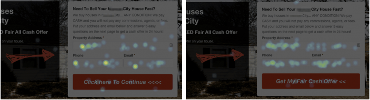 real estate website call to action heat map