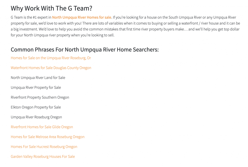 real estate website internal linking to city pages